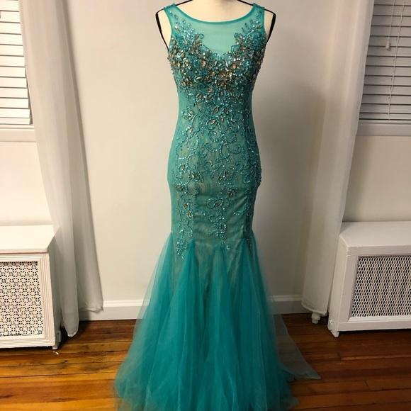 Dave & Johnny Dresses & Skirts - Blue Jeweled Mermaid Dress (Dave & Johnny)